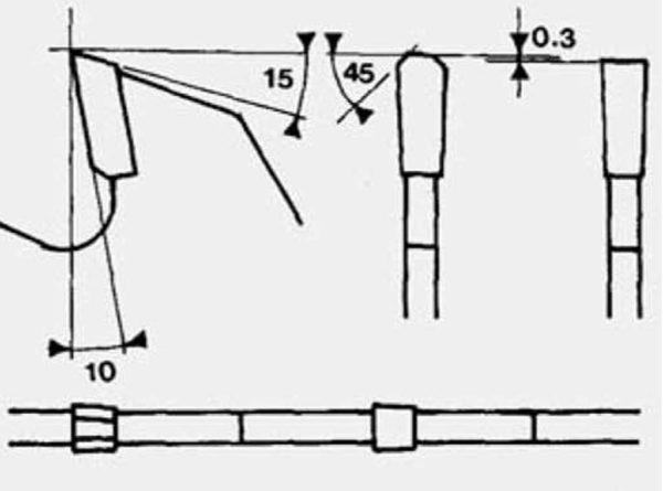 Disco para paneles recubiertos con diente recto-trapecial D250 esquema